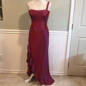 Nicole Miller Asymmetrical Red Evening Gown